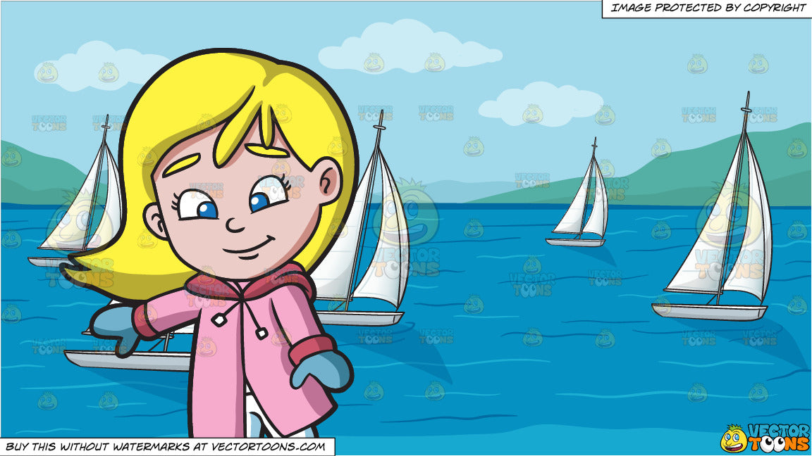 A Girl Learning How To Ice Skate and Racing Sailboats Background