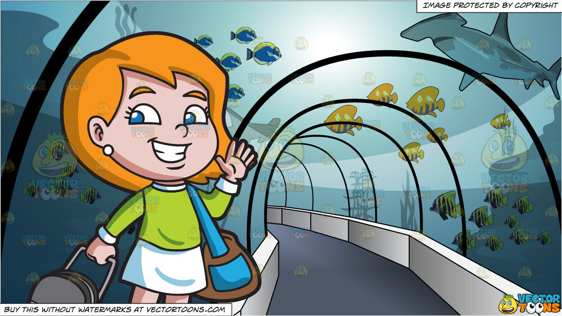 A Girl Saying Goodbye Before She Travels and Tunnel Through An Aquarium Background