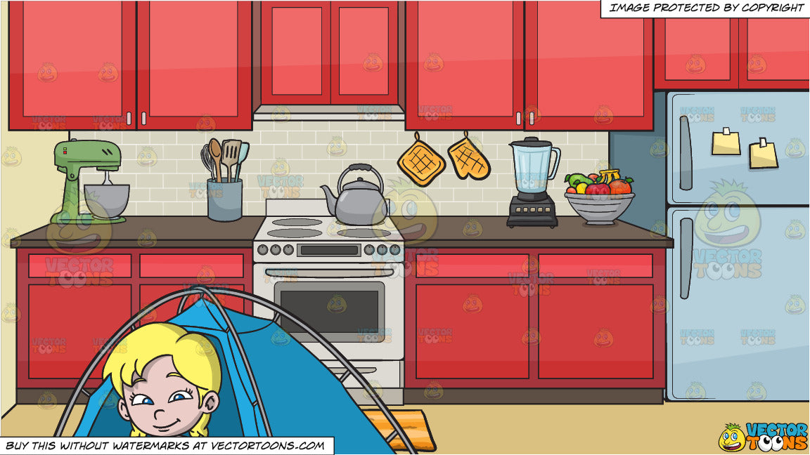 A Girl Sitting Outside Her Camping Tent and A Stove In The Kitchen  Background