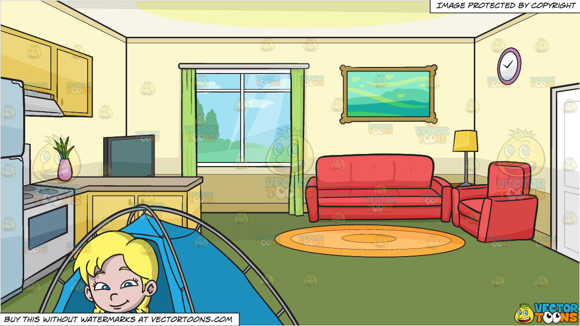 A Girl Sitting Outside Her Camping Tent and The Kitchen And Living Room Of  A Small House Background