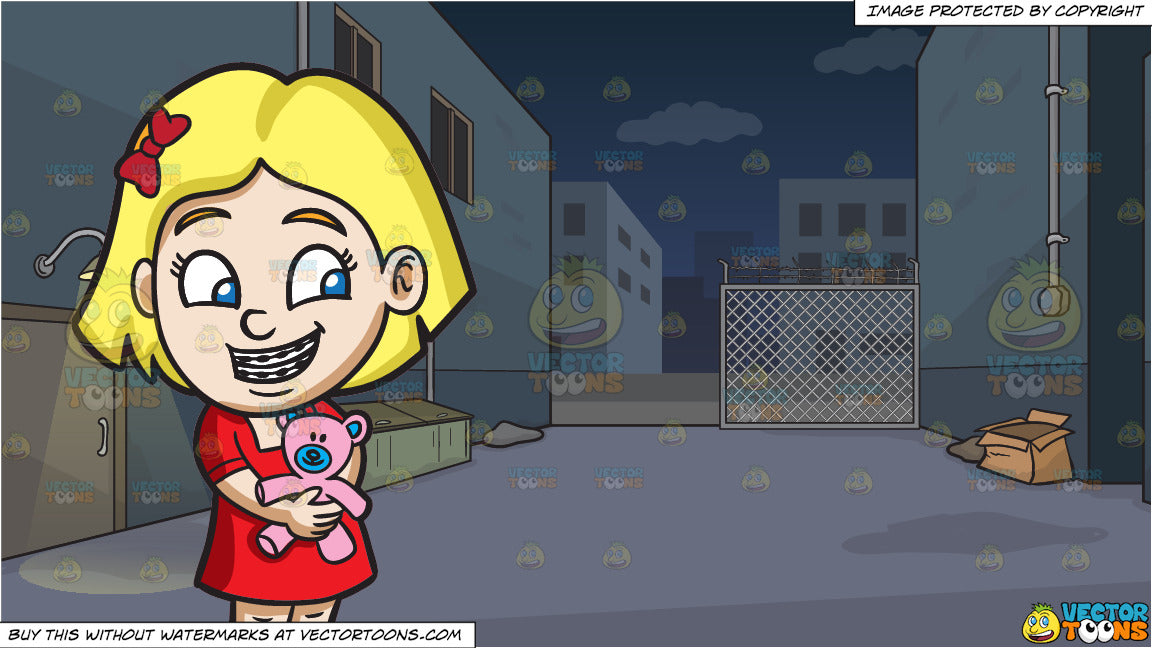 A Girl With Braces Hugging Her Teddy And A Dark Alley At Night