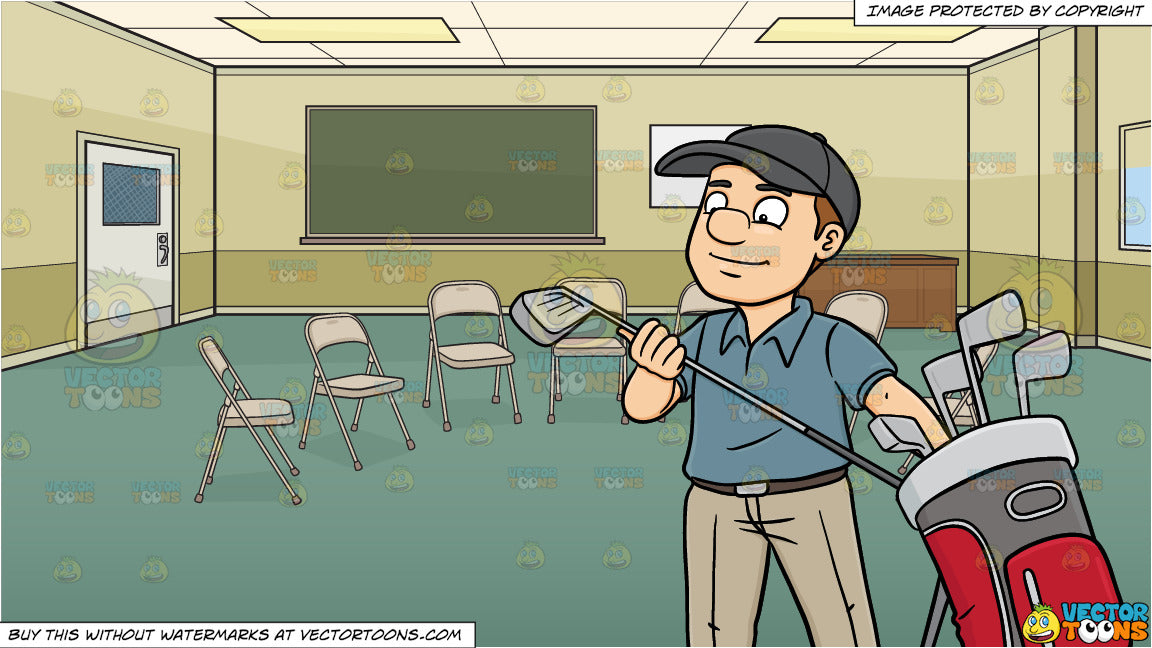 A Golfer Inspecting His Golf Club And A Community Center Room Set Up F Clipart Cartoons By Vectortoons