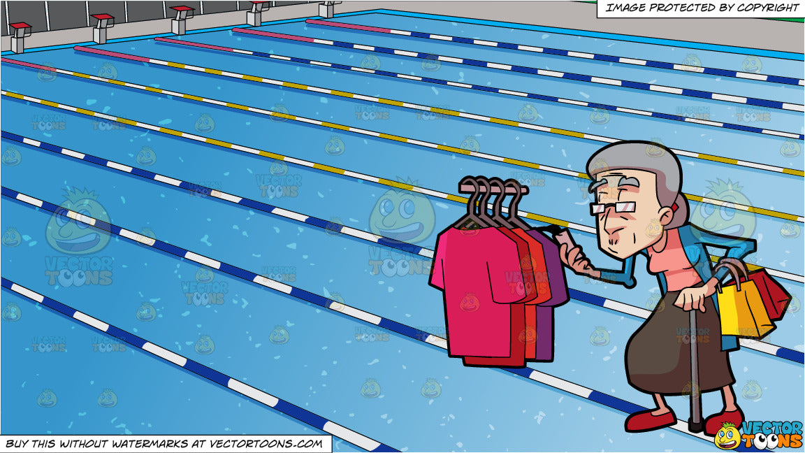 A Grandma Checking The Price Tag Of Shirts and Outdoor Competition Swimming  Pool Background