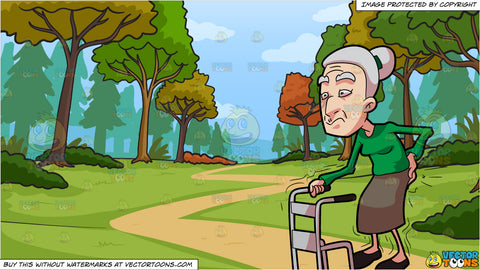 A Grandma Having Backaches While Walking and Path Leading To The Woods During Fall Background