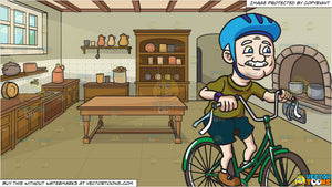 A Grandpa Rides A Fun Looking Bicycle and A Castle Kitchen Background