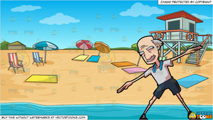 A Grandpa Stretching His Arms and Summer Beach Shore Background