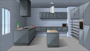 A Gray Modern Household Kitchen