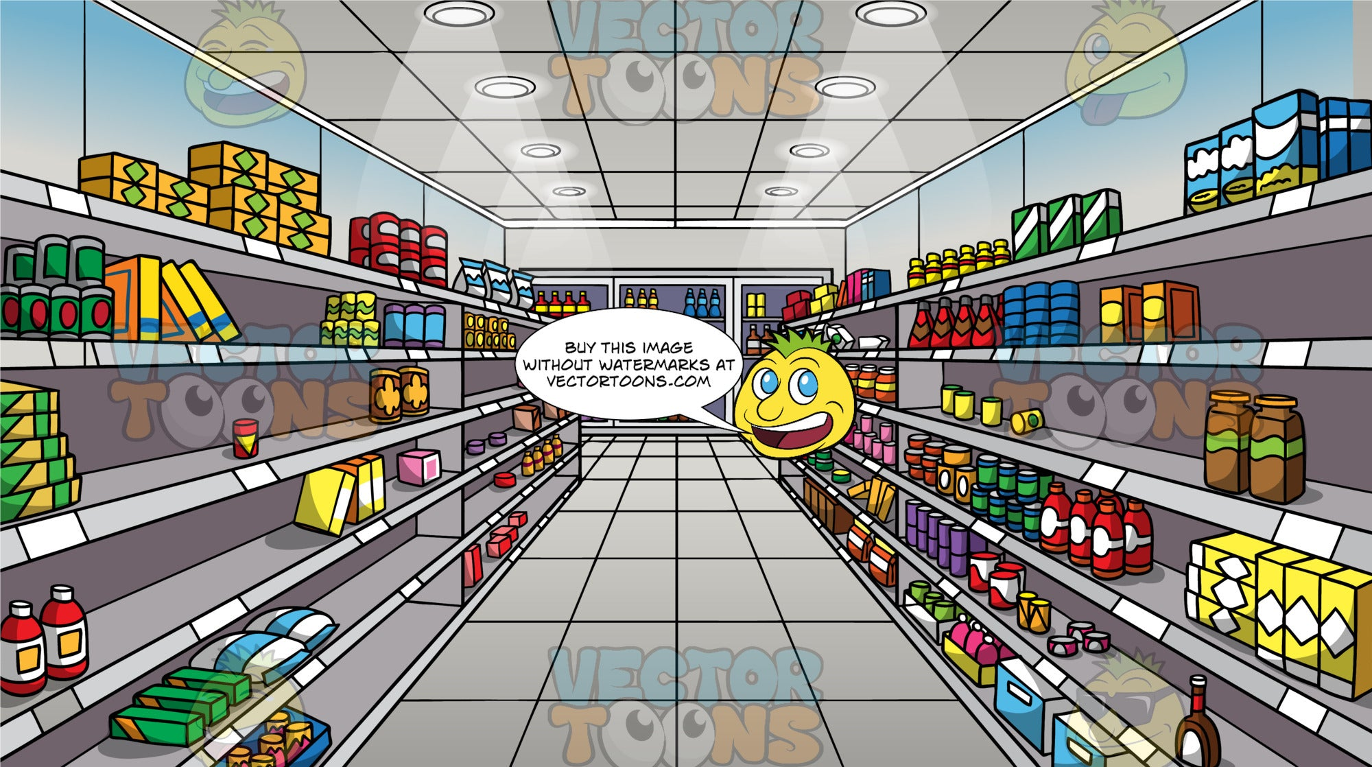 A Grocery Store Aisle With Empty Shelves Background. A brightly lit grocery store aisle with some shelves containing food items and other shelves left empty due to items being sold out