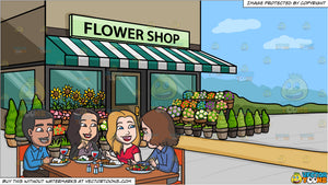 A Group Of Colleagues Grabbing A Hearty Lunch and A Quaint Flower Shop Background