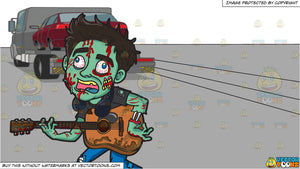 A Guitar Playing Zombie and A Car Being Transported To Another Location