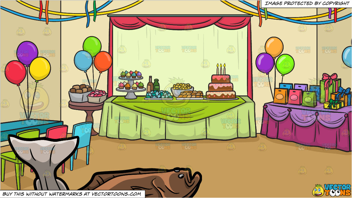 A Halibut And A Birthday Party Background Clipart Cartoons By Vectortoons