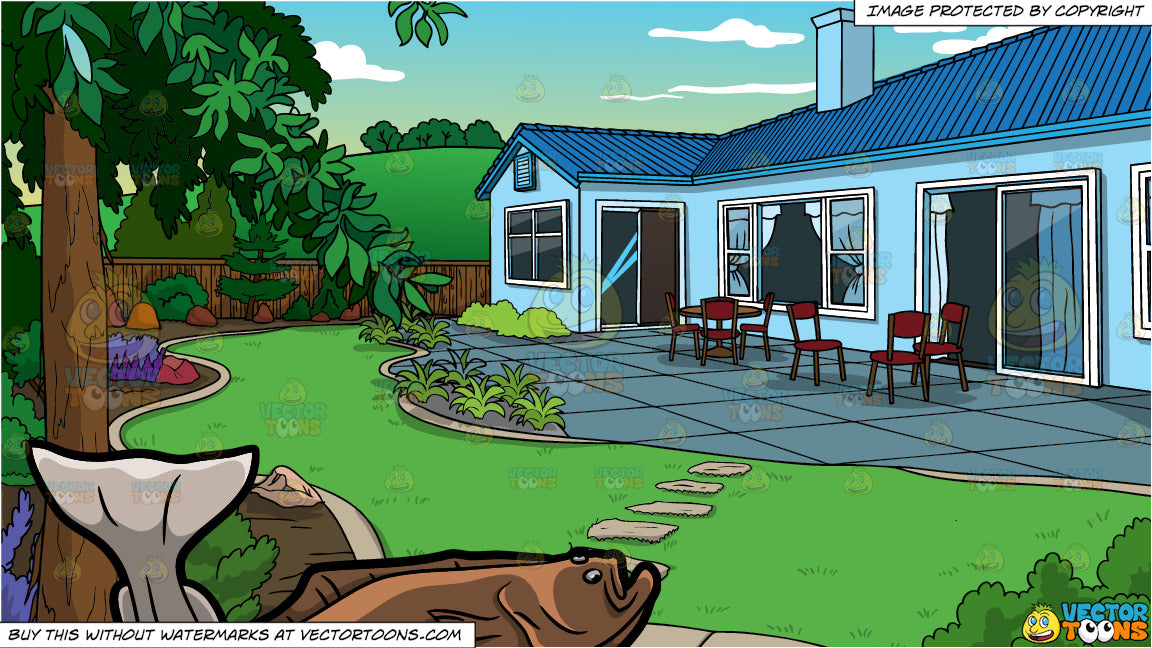 A Halibut And A Landscaped Backyard Of A House Background Clipart Cartoons By Vectortoons