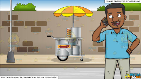 A Happy Black Man Calling Someone On His Phone and Hot Dog Cart On A Sidewalk Background