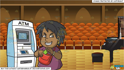 A Happy Black Woman Getting Cash From The Atm and Interior Concert Hall Background