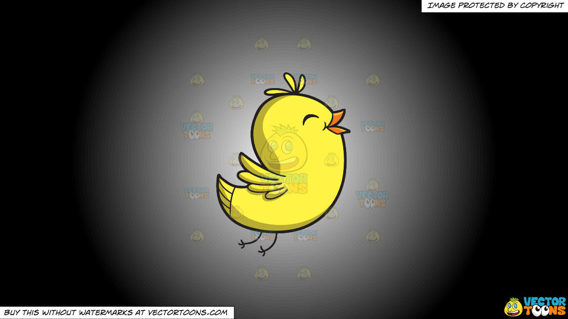 Clipart: A happy chick on a White And Black Gradient Background