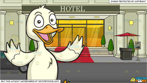 A Happy Duck and Valet Parking At A Hotel Background
