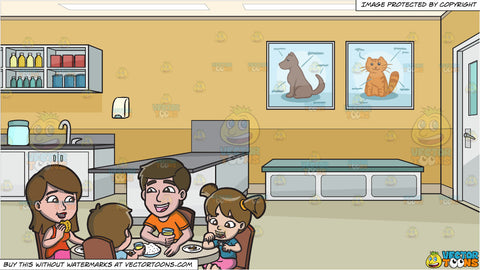 A Happy Family Having Lunch Together and A Veterinary Clinic Background