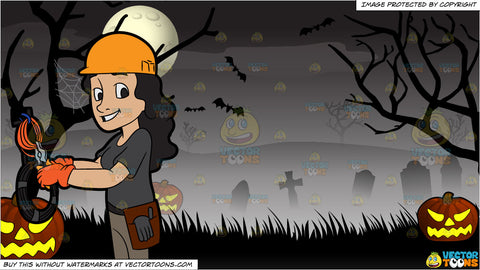 A Happy Female Electrician Cutting Some Cables and Spooky Graveyard Halloween Background