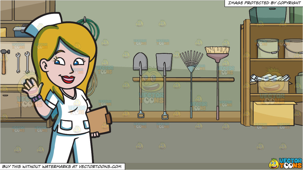 A Happy Female Nurse and A Garage With Gardening Equipment And Tools  Background
