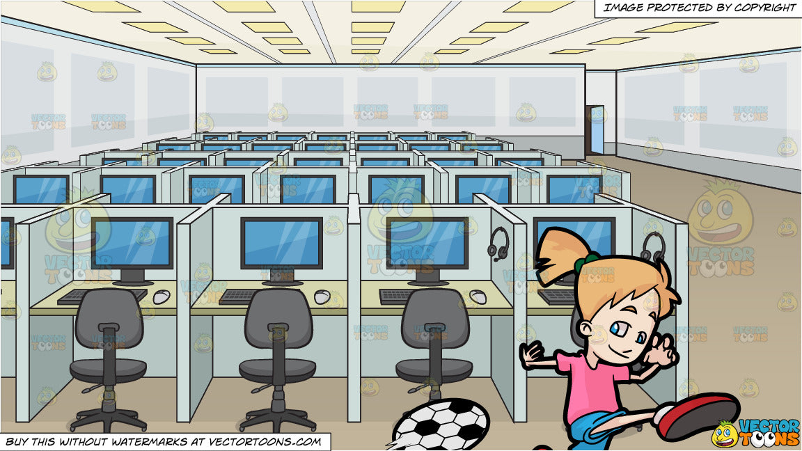 Awesome A Happy Girl Kicking A Soccer Ball And A Call Center Office Room Background Pdpeps Interior Chair Design Pdpepsorg