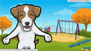 A Happy Jack Russell Terrier and Kids Playground On An Autumn Day Background