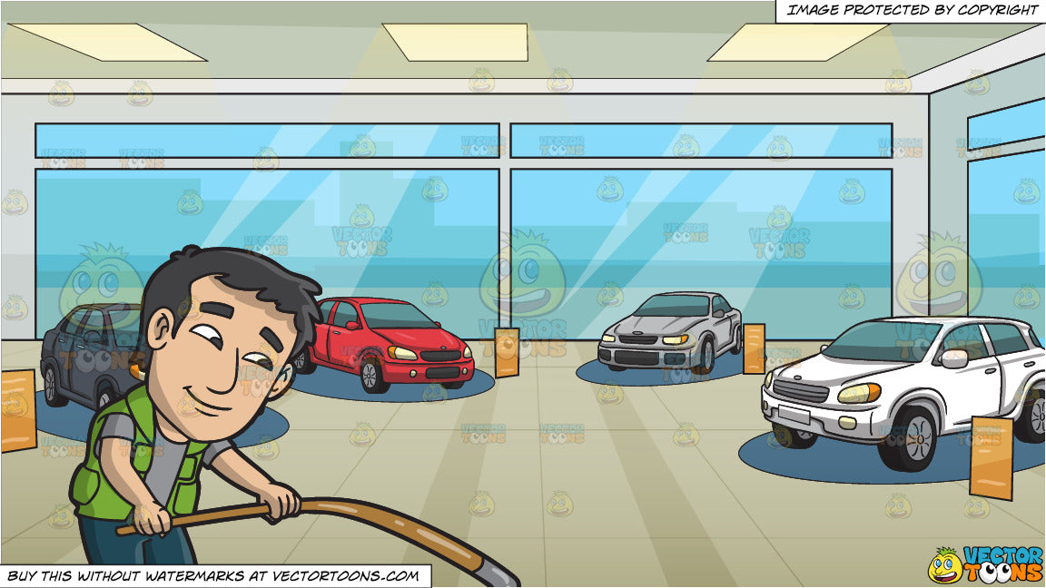 A Happy Man Shifting The Tiller Of A Boat and Inside A Car Showroom  Background