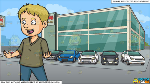 A Happy Man Talking To Someone and Outside A Modern Car Dealership Background