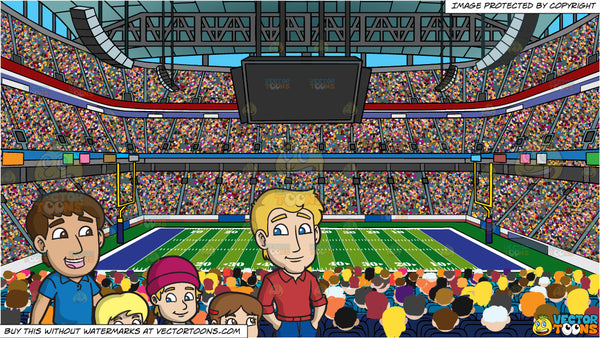 a happy modern family walking to school together and a football stadiu clipart cartoons by vectortoons a happy modern family walking to school together and a football stadium background