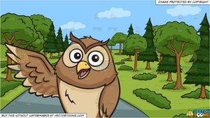 A happy owl raising its right wing and A Winding Country Road Background