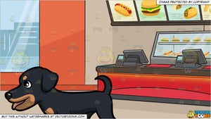 A Happy Rottweiler Taking A Stroll and Inside A Fast Food Restaurant Background