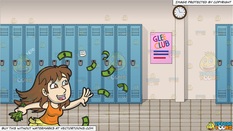 A Happy Young Woman Gathering Some Flying Money and School Hallway Background