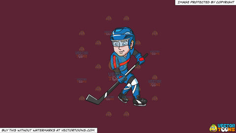 Cartoon clipart: a hockey player getting ready to pass the puck on a solid red wine 5b2333 background
