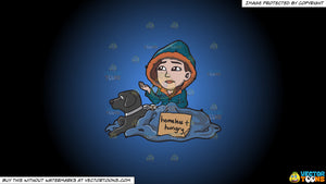 Cartoon clipart: a homeless and hungry woman with a black dog on a blue and black gradient background