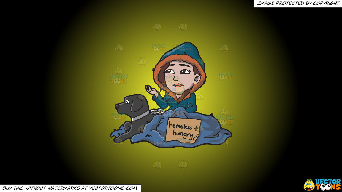 Cartoon clipart: a homeless and hungry woman with a black dog on a yellow and black gradient background