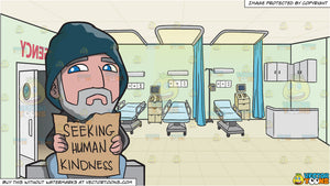 A Homeless Old Man Seeking Human Kindness and Hospital Emergency Room Background
