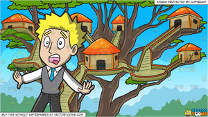 A Horrified Man In Shock and A Tree House Village Background
