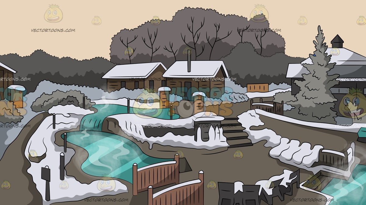 A Hot Springs Resort During Winter Background