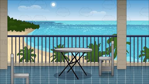 A Hotel Balcony Overlooking The Beach Background