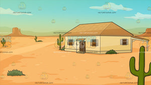 A House In The Middle Of A Desert Background