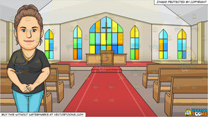 A Humble Dental Hygienist Clasping Her Hands and Inside A Chapel With An Altar Background