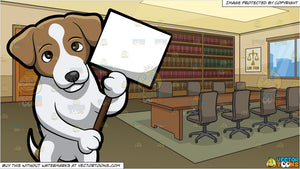 A Jack Russell Terrier Holding A Sign Board and A Meeting Room Of A Law  Firm Background