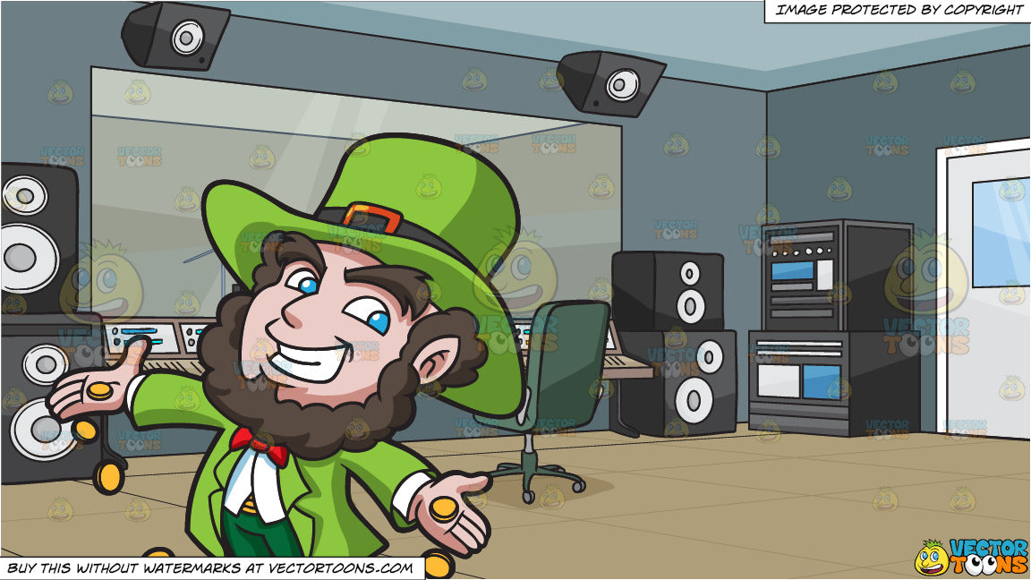 A Jolly Leprechaun Dropping Gold Coins and A Recording Studio Background