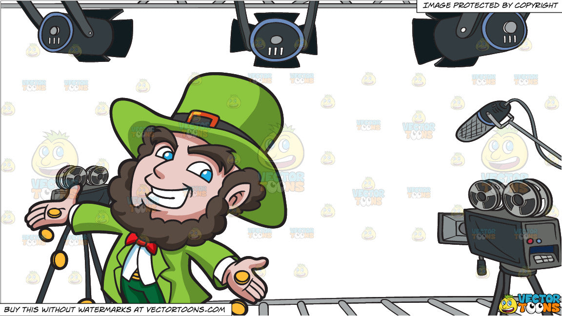 A Jolly Leprechaun Dropping Gold Coins and Video Studio Background
