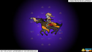 Cartoon clipart: a jousting knight on a purple and black gradient background