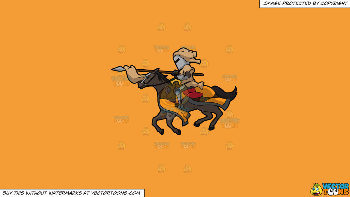 Cartoon clipart: a jousting knight on a solid deep saffron gold f49d37 background