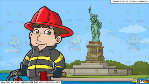 A Kind Looking Firefighter and The Statue Of Liberty Background