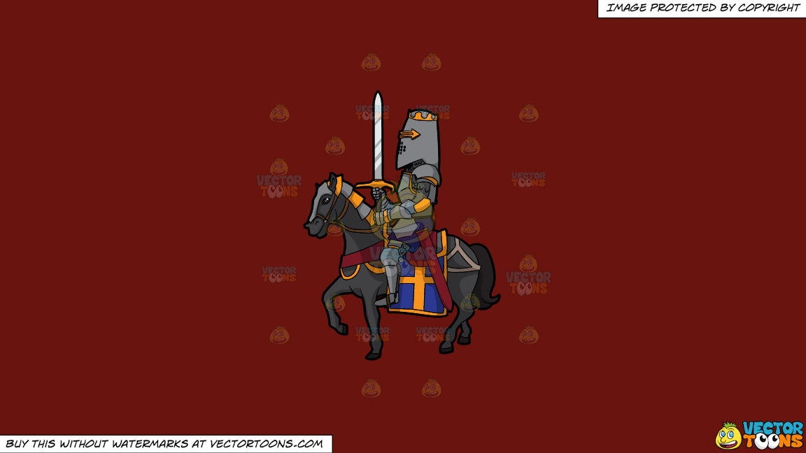 Cartoon clipart: a knight in shining armor on a solid maroon 69140e background