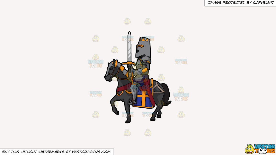 Cartoon clipart: a knight in shining armor on a solid white smoke f7f4f3 background