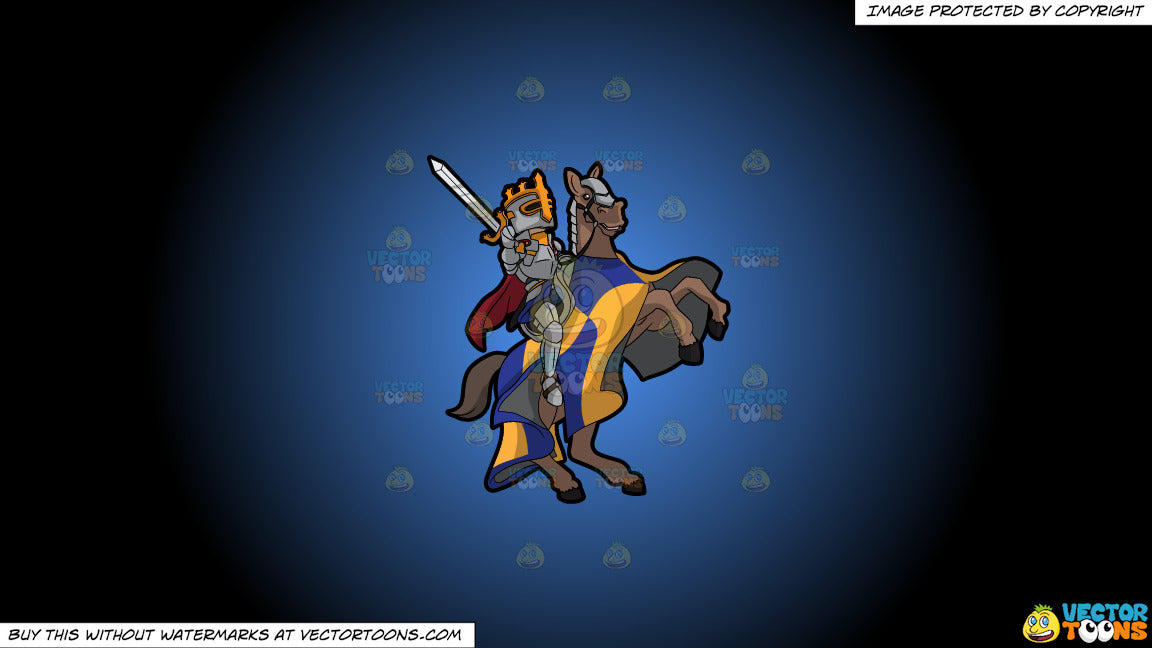 Cartoon clipart: a knight ready for battle on a blue and black gradient background