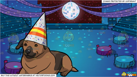 A Labrador Birthday Dog and A School Gym Set Up For Prom Background
